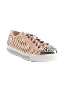 Miu Miu metallic pink crystal embellished lace-up sneakers