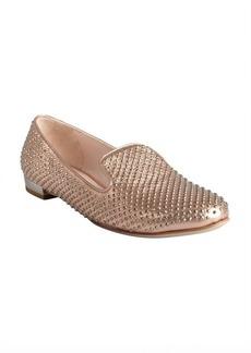 Miu Miu metallic pink leather crystal studded loafers