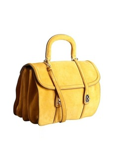Miu Miu mustard suede expanding top handle bag