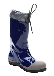 Miu Miu navy patent leather and marble rubber mid-calf rain boots
