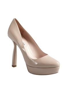Miu Miu nude patent leather notched heel platforms