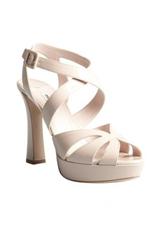 Miu Miu pale pink patent leather crisscross strapped platform sandals