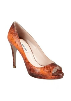 Miu Miu papaya snake embossed leather peep toe pumps