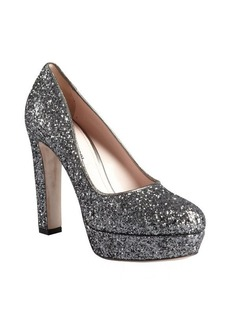 Miu Miu pewter glitter embellished leather platform heels