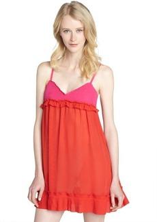 Miu Miu pink and red pleated chiffon sundress