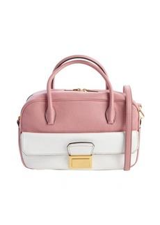 Miu Miu pink and white leather convertible top handle bag