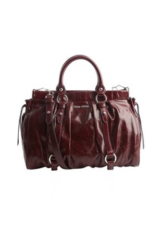 Miu Miu plum pleated leather convertible bag