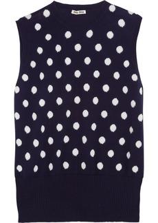 Miu Miu Polka dot-intarsia cotton top