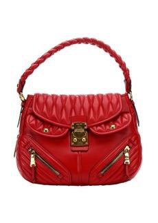 Miu Miu red lambskin matelasse quilted convertible shoulder bag