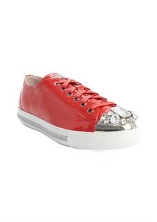 Miu Miu red leather jewel studded cap toe sneakers