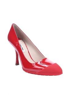 Miu Miu red patent leather rubber cap toe pumps