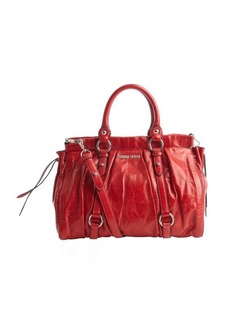 Miu Miu red pleated leather convertible bag