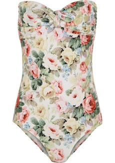 Miu Miu Rose-print bandeau swimsuit