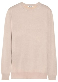 Miu Miu Ruffle-trimmed cashmere and silk-blend sweater