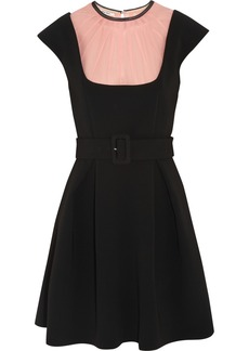 Miu Miu Silk chiffon-paneled crepe mini dress