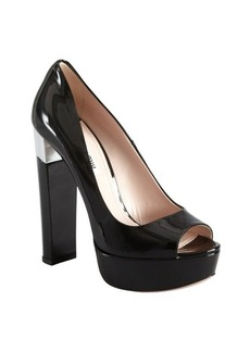 Miu Miu silver and black patent leather stacked heel platforms