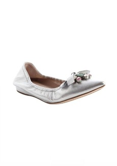 Miu Miu silver leather jewel detail ballet flats