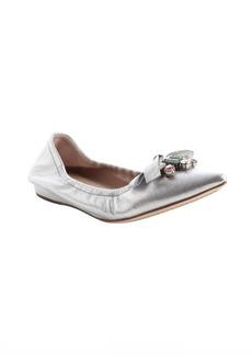 Miu Miu silver leather jewel detail ballet flats