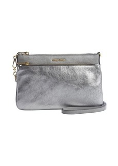 Miu Miu silver leather logo imprinted double pocket convertible clutch