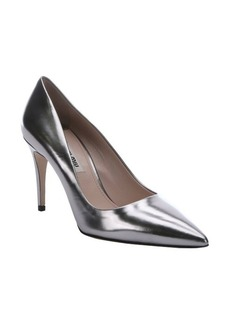 Miu Miu silver leather pointed toe pumps