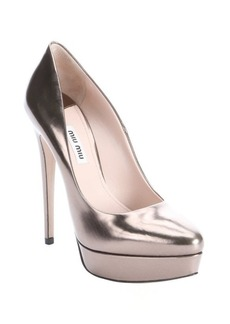 Miu Miu stone metallic leather platform pumps