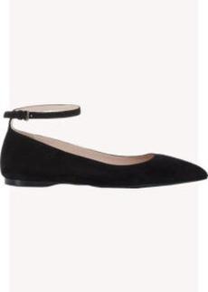Miu Miu Suede Ankle-Strap Flats