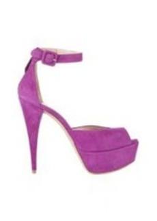 Miu Miu Suede Ankle-Strap Platform Sandals