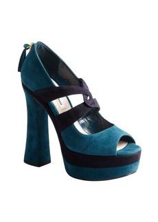 Miu Miu teal suede platform sandals