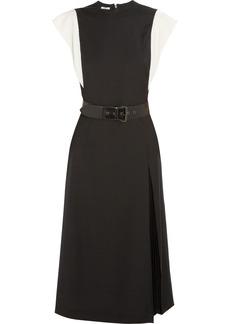 Miu Miu Velvet-trimmed belted wool dress