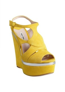 Miu Miu yellow and silver suede wedge sandals