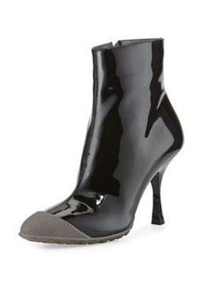 Patent Short Cap-Toe Rain Boot, Nero/Marmo   Patent Short Cap-Toe Rain Boot, Nero/Marmo