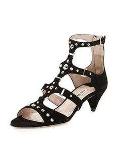Studded Suede Low-Heel Sandal, Nero   Studded Suede Low-Heel Sandal, Nero