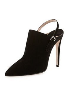 Suede Point-Toe Ankle Boot, Nero   Suede Point-Toe Ankle Boot, Nero