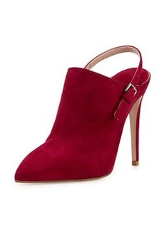 Suede Point-Toe Slingback Ankle Boot, Dark Pink   Suede Point-Toe Slingback Ankle Boot, Dark Pink