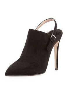 Suede Point-Toe Slingback Ankle Boot, Nero   Suede Point-Toe Slingback Ankle Boot, Nero