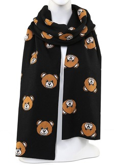Moschino Bear Print Virgin Wool Scarf