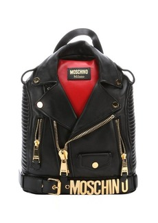 Moschino black and red leather 'Biker Jacket' backpack