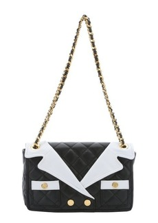 Moschino black and white leather jacket lapel shoulder bag