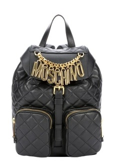 Moschino black quilted leather lettering charms backpack