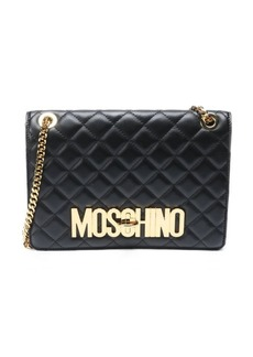 Moschino black quilted leather shoulder bag