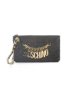 Moschino black quilted leather wristlet