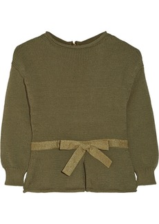 Moschino Bow-embellished cotton-blend sweater