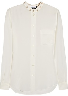 Moschino Faux pearl-embellished silk-crepe blouse