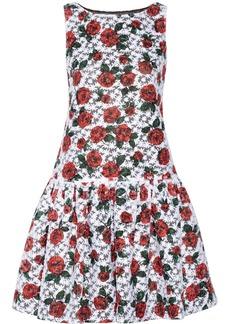 Moschino Floral-print embroidered organza drop-waist dress