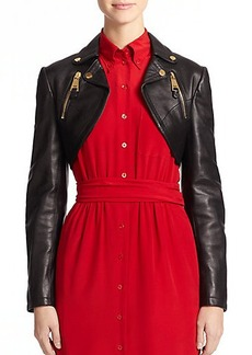 Moschino Leather Moto Bolero