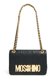 Moschino Logo Embossed Leather Crossbody Bag