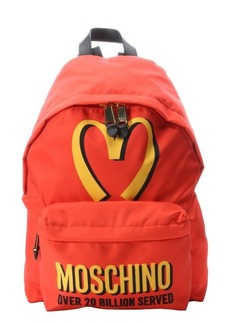 Moschino orange and red nylon '20 Billion Served' backpack