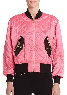 Moschino Quilted Satin Bomber Jacket