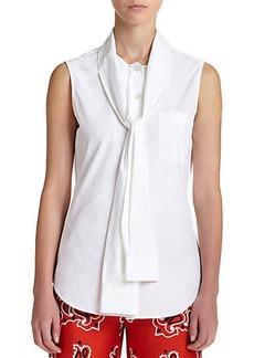 Moschino Sash-Tie Cotton Blouse