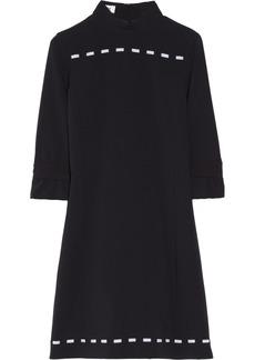 Moschino Velvet-trimmed crepe shift dress